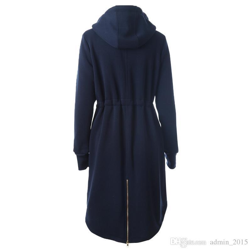 Speciale Novel europeo casual donna lungo stile felpe con cappuccio a maniche lunghe slim felpe calde con felpe con cappuccio donna blu felpe