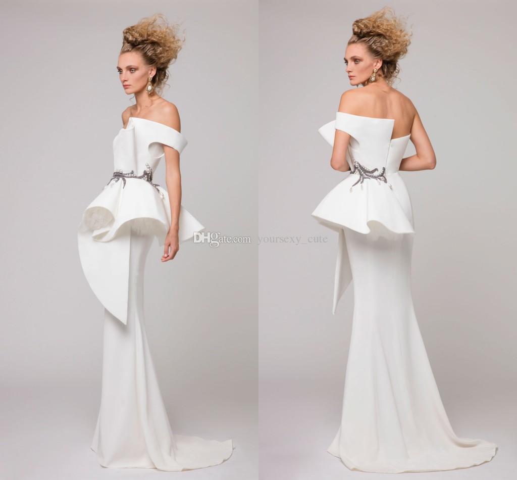 2017 Elegante Branco Sereia Vestidos de Noite Strapless Ruched Pérolas Bordadas de Cetim AZZI OSTA Formal Evening Vestidos Baratos Vestidos de Festa