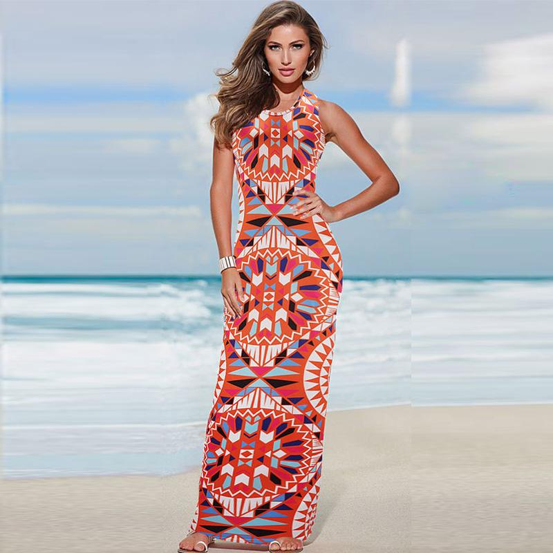 435e580fa9 Summer Dresses Women Clothes Fashion Digital Printing Round Collar  Sleeveless Long Package Hip Cultivate One S Morality Dress Plus Size Formal  Dresses ...