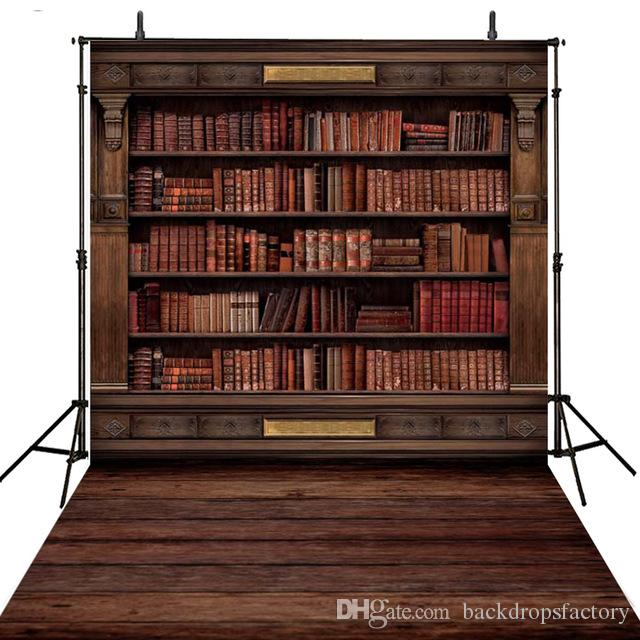 2018 Vintage Bookshelf Books Backdrop Photography School Bookcase Kids Children Photographic Background Wooden Floor Studio Photo Booth Props From