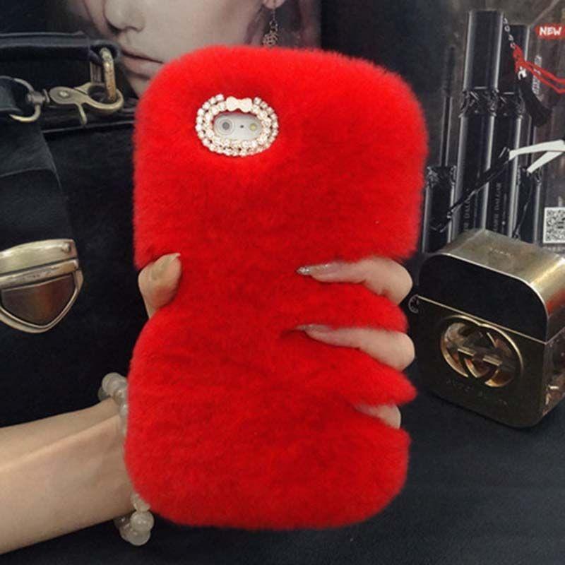 Rex Rabbit Fur Phone Case For Samsung J7 Prime J710 2016 J3 J5 J1 J2 2016 Fuzzy Hair capas para Cute Rhinestone Luxury Phone Fundas Cover