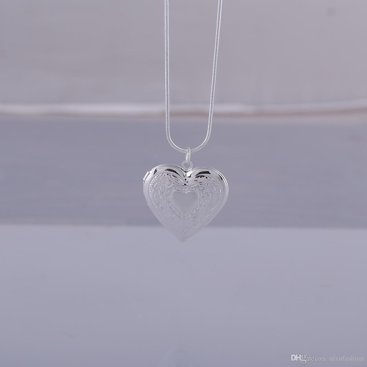 Silver Plated 925 Lockets Pendant Necklaces Heart Carved Charm Photo Frames Can Open Locket Necklace Valentine's Day Gift For Women Girl