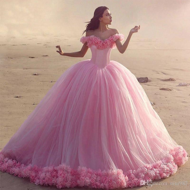 Amazing Vestido De Novia Pink Color Ball Gowns Wedding Dresses 2017 ...