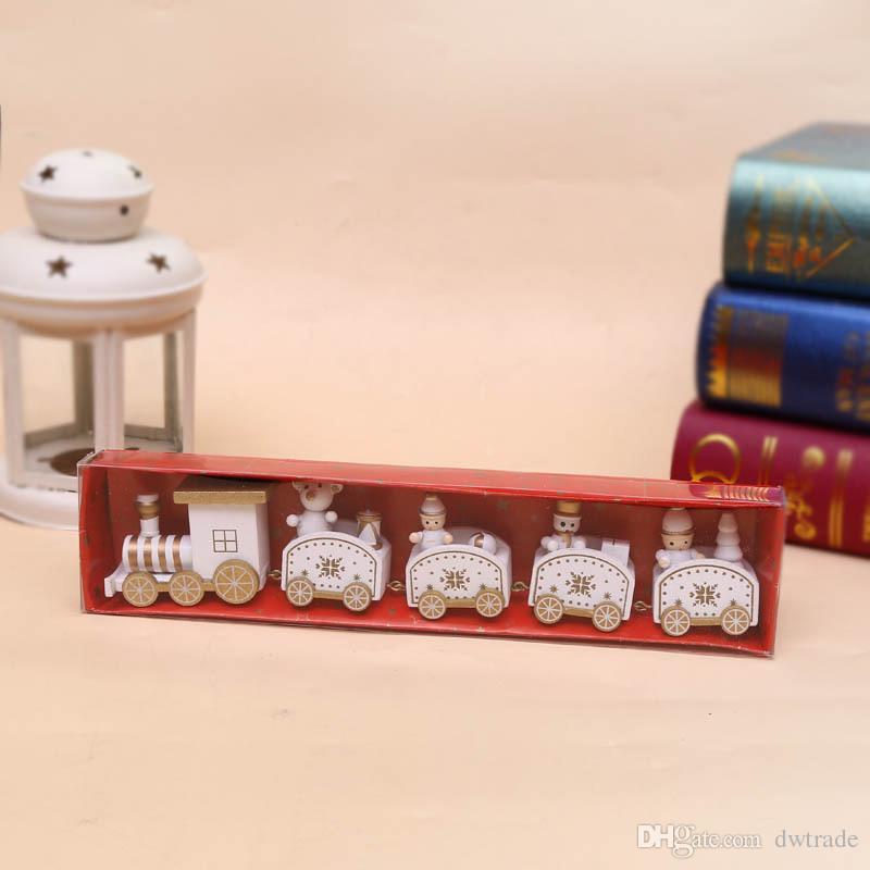 25cm Wood Christmas Train Toy Decoration Decor Gift Onarment Xmas Gift Santa Clause Snowman Toys For Kids