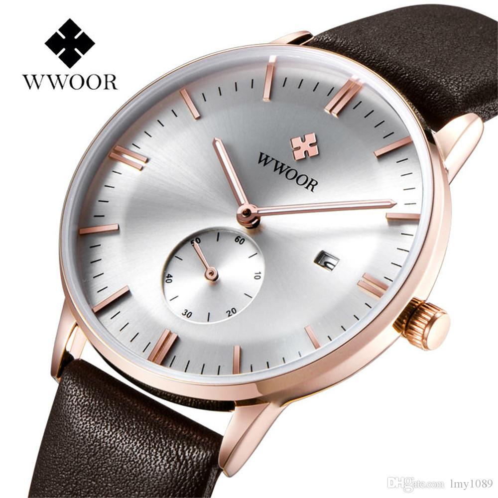 37b97acf10f Compre 2017 Relógios Dos Homens De Wwoor Top Marca De Luxo Relógios De Couro  Dos Homens Casual Relógio De Quartzo Esportes Soldado Da Mesa De Lmy1089