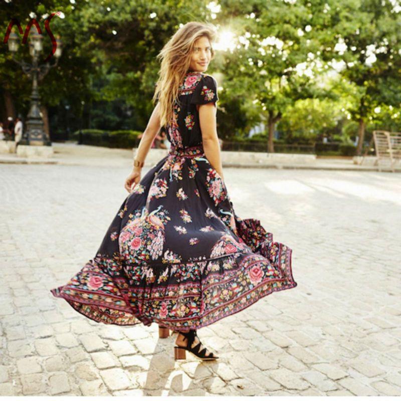 Wholesale Summer Vintage Sexy Elastic Waist Chiffon Maxi Dress Women Short Sleeve V-neck Printed Dress 2017 Vestido Femme