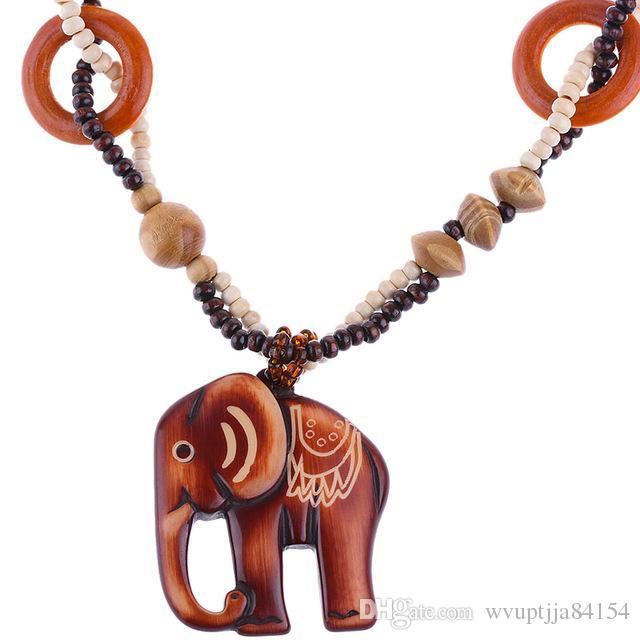 d98564cb1 Boho Style Ethnic Handmade Bead Wood Elephant Pendant Long Necklace ...