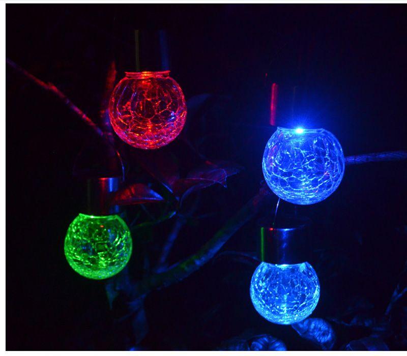 Güneş Enerjili Renk Değiştirme açık led ışık topu Crackle Cam LED Işık Asın Bahçe Çim Lambası Yard Süslemeleri Lamba