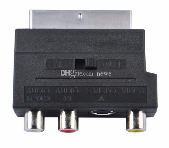 HOT Eletrônica Vídeo RGB Scart para Composto 3 RCA S-Video AV TV Conversor Adaptador De Áudio Scart para RCA