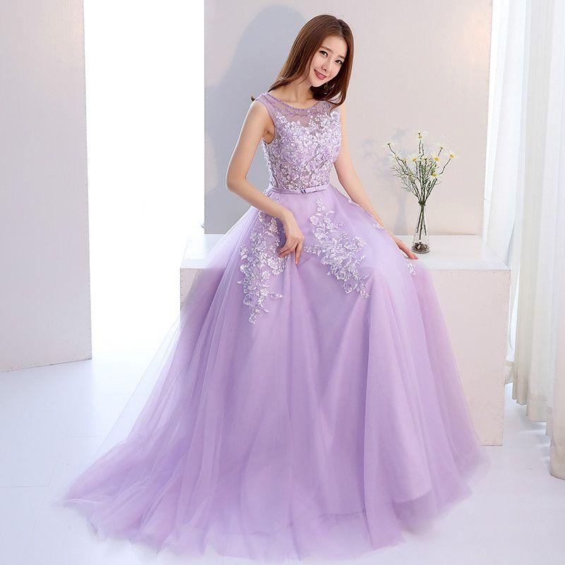 Compre Vestido De Noche Elgant Light Purple Sheer Scoop Neck Sin ...