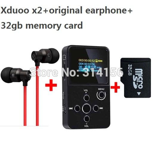 Wholesale- with real 32GB TF card+strong bass earphone, XDUOO X2 HIFI MP3 digital audio Music Player with OLED Screen MP3 WMA APE FLAC WAV