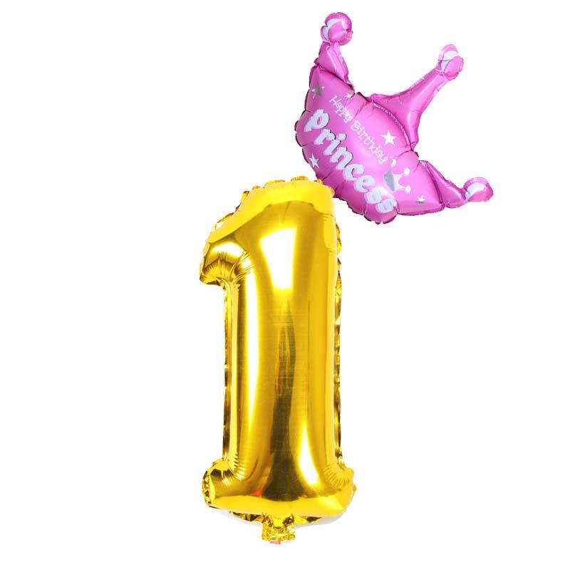 32 Inch Gold Number Balloons 1 2 3 4 5 6 7 8 9 10 Years Old Kids Birthday Crown Foil Balloon Anniversary Decorations Supplies Holiday Party