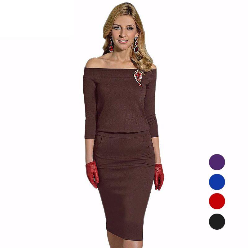 a33a8839bab8 Acquista Moda Donna Inverno Dress Slim Fit Abiti Casual Mezza Manica Slash  Neck Pencil Dress Elegante Ladies Lavoro Ufficio Abiti S 2XL ZSJF0449 A   12.87 ...