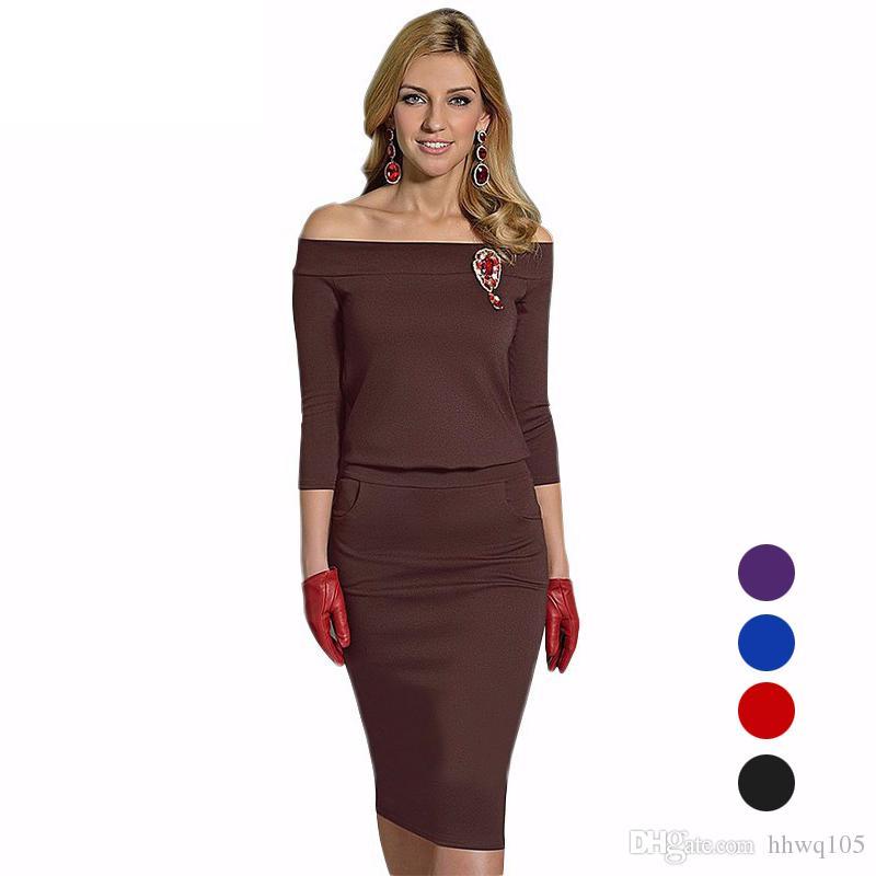 cda2688b9a Moda mujer vestido de invierno Slim-Fit Vestidos casuales Media manga Slash  cuello Lápiz Vestido Elegante Señoras Vestidos de trabajo de oficina S-2XL  ...