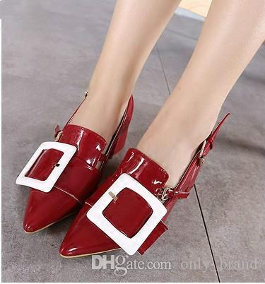Fashion Womens Leather Shoes Buckle and Back Strap Red Shoes Pointed Head Chunky Heels Womens Sandals