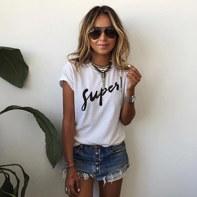 12f52800d2 Wholesale Summer Korean Fashion Roupa Feminina Tshirt Femme Women Female  Tshirts Tumblr Poleras Camisetas Mujer White Super Letter T Shirt Shopping T  Shirt ...