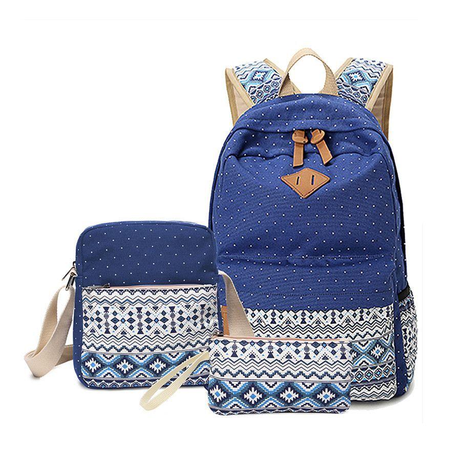 beb6827cc11c 2017 Vintage School Bags For Girls Kids Bag Canvas Backpack Women Bagpack  Children Backpacks Dot Shoulder Bags Blue Pencil Case Cheap Handbags Burton  ...
