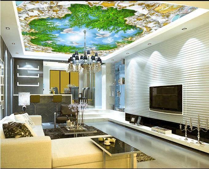 пользовательские роскошные 3D потолочные обои бамбуковый летающий Голубь 3D потолочные обои для гостиной 3D потолочные обои