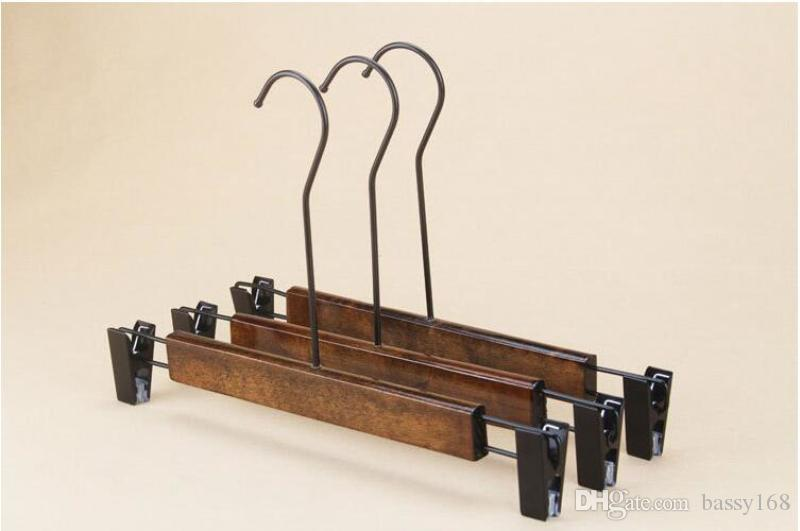Luxury Solid Wood Clothes Hanger Trousers Rack with clip Retro Color Adults Wooden Pants Hangers with Long Hook Anti-slip