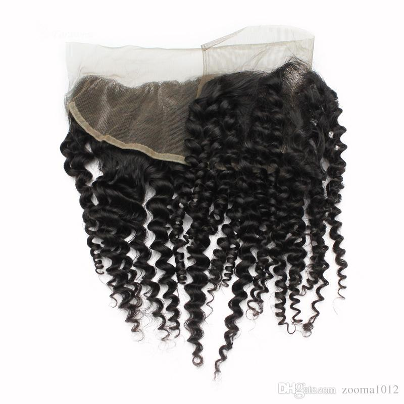 """Brazilian Virgin Human Lace Frontal Closure Hair Kinky Curly Wavy Peruvian Remy Hair Lace Frontals 13*4 1B Free Part 8""""-20"""" Free Shedding"""