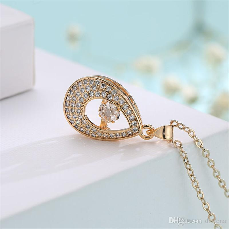 Teardrop Design Vintage Pendant Necklace Swarovski Stone Necklace 18K Real Gold Chain Gold Necklace For Women 022-NE0138