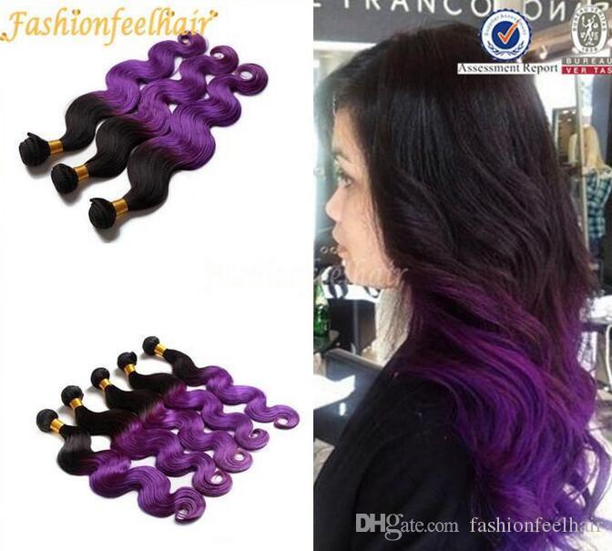 Hot Sale Purple Ombre Hair Bundles 1bpurple 3bundles Body Wave