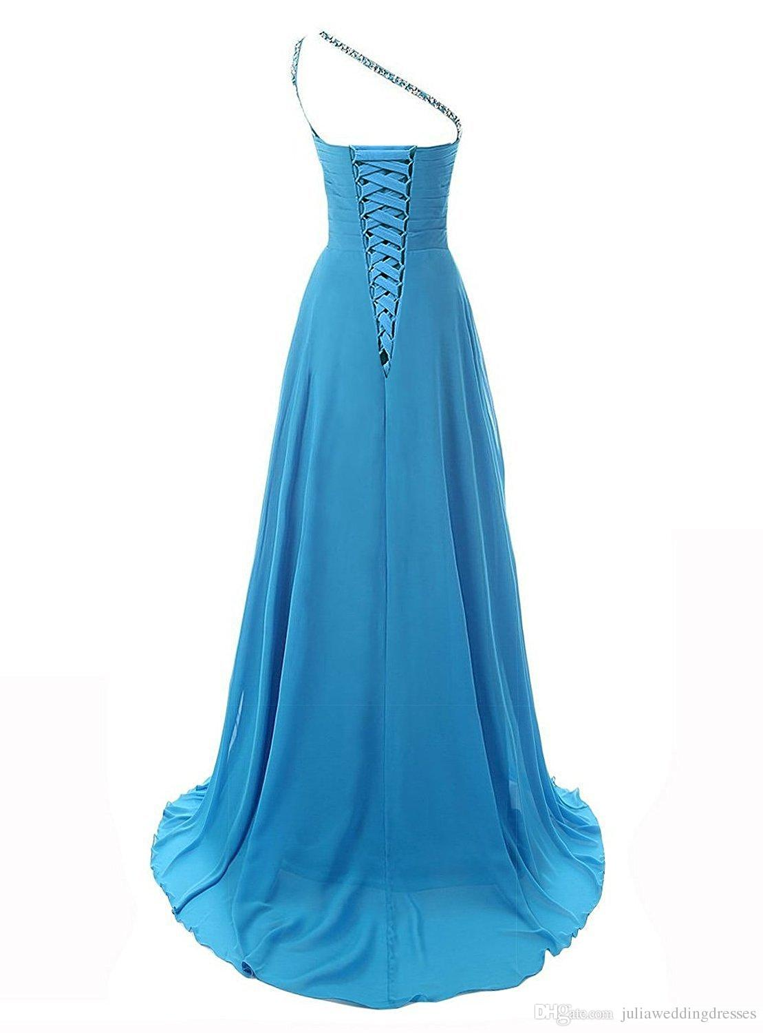 2017 New Gradient A Line One Shoulder Beadings Chiffon Bridesmaid Long Prom Dresses Floor-Length Party Gown QC442