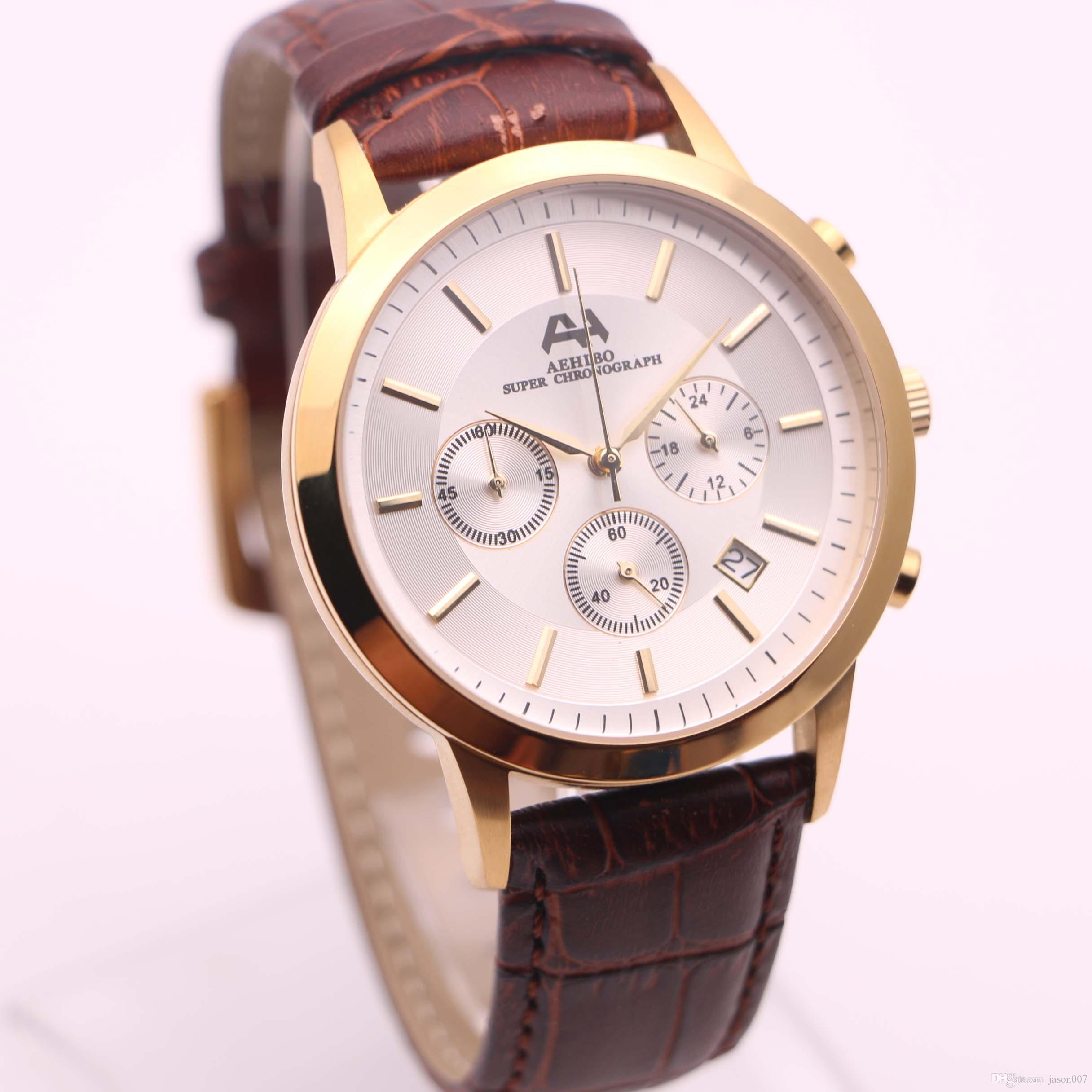 2fe12912711 7 Types Fashion New Brand AEHIBO Watches Men White Face Brown Leather Gold  Watch Quartz VK Super Stainless Chronograph Watch Men S Watches Online  Shopping ...