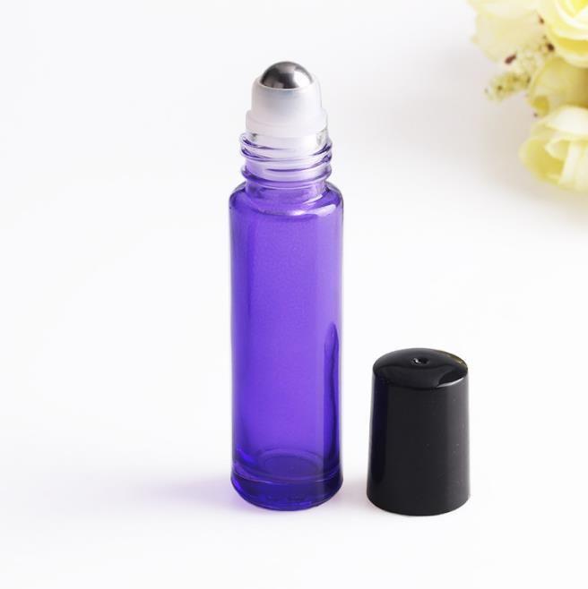 10ml 1 / 3oz gruby bursztynowy rolka na szklanych butelkach kosmetycznych butelek olejków z roletą stalową mieszane 5 kolorów