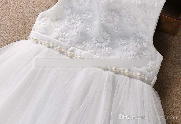 Compre Vestido Niñas Vestido Nueva Perla De Perlas Tulle Niños Vestido De Tutú Verano Sweet Princesa Vestidos Niños Lindo Sundress C1042 A 5629 Del