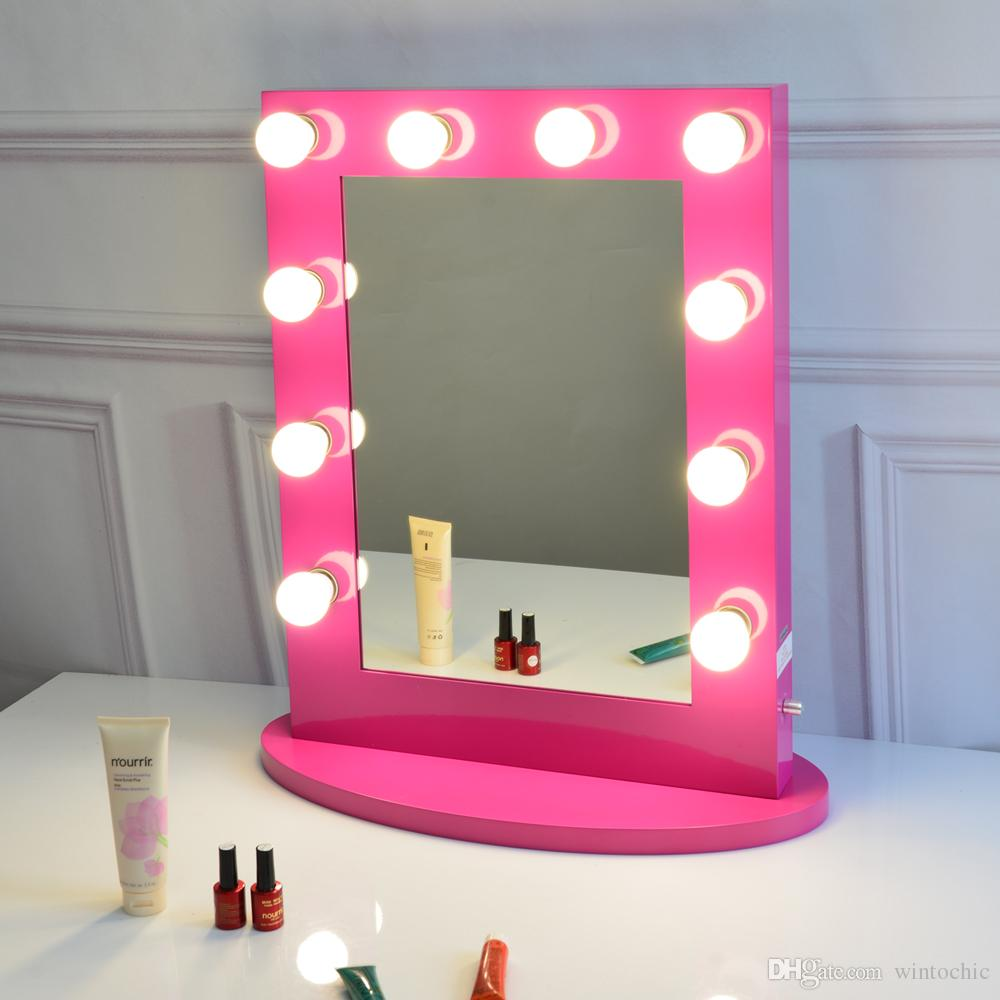 Rose Red Vanity Mirror With Light Hollywood Makeup Stage Mirrored Home Decor Wall From Wintochic 227 13 Dhgate Com