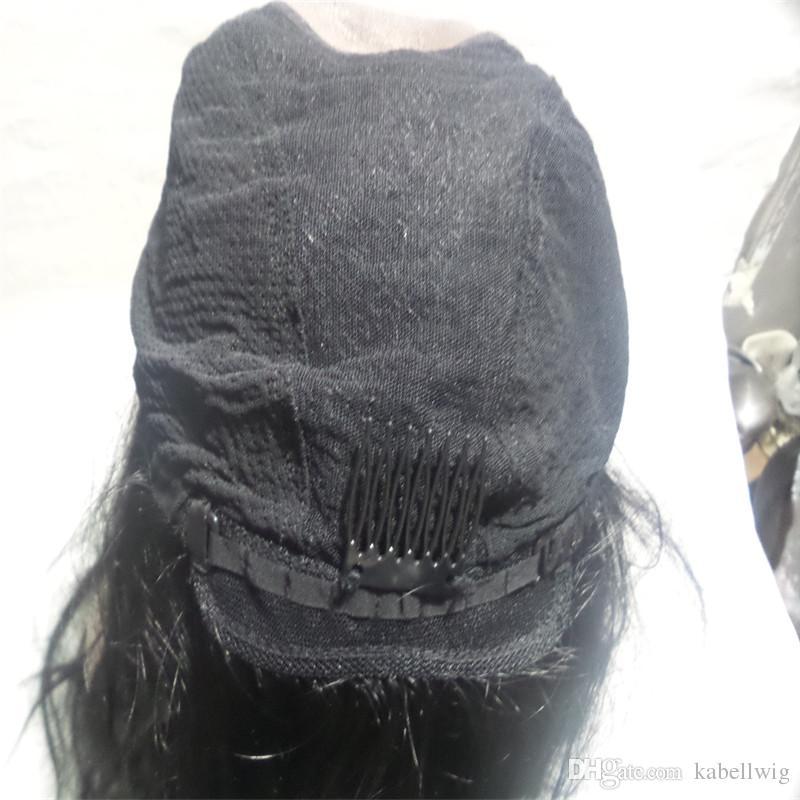 Cheia Do Laço Humano Peruca Brasileira Virgem Do Cabelo 100% Cabelo Liso De Seda E Falso cabelo É Para As Mulheres Negras Semana Seda Peruca Cheia Do Laço KABELL