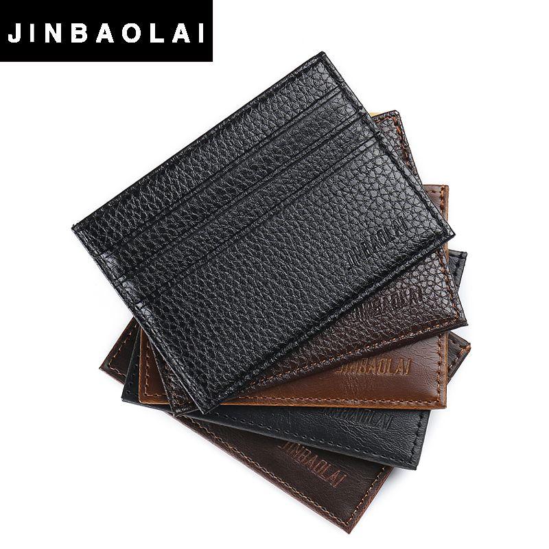 JINBAOLAI Vintage Slim Mini Artificial Leather Credit ID Card Holder ...