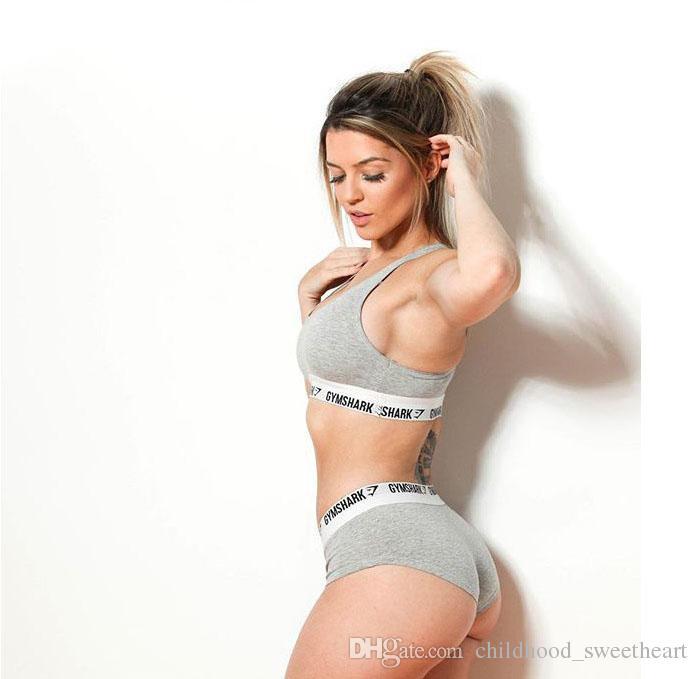 Mujer marca deportes chaleco traje verano nuevo listado letras impresas ropa interior conjunto casual algodón deportes chándalsuits recortar top partido tanga