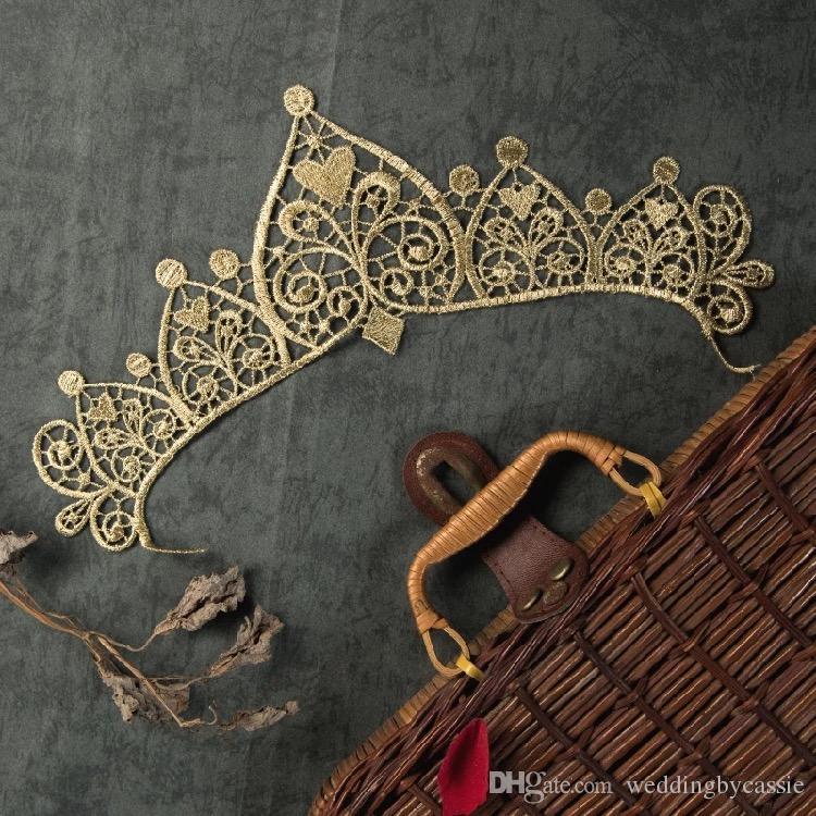 Métal fil dentelle or broderie fleur couronne dentelle applique tissu couture costumes garniture Applique dentelle patch