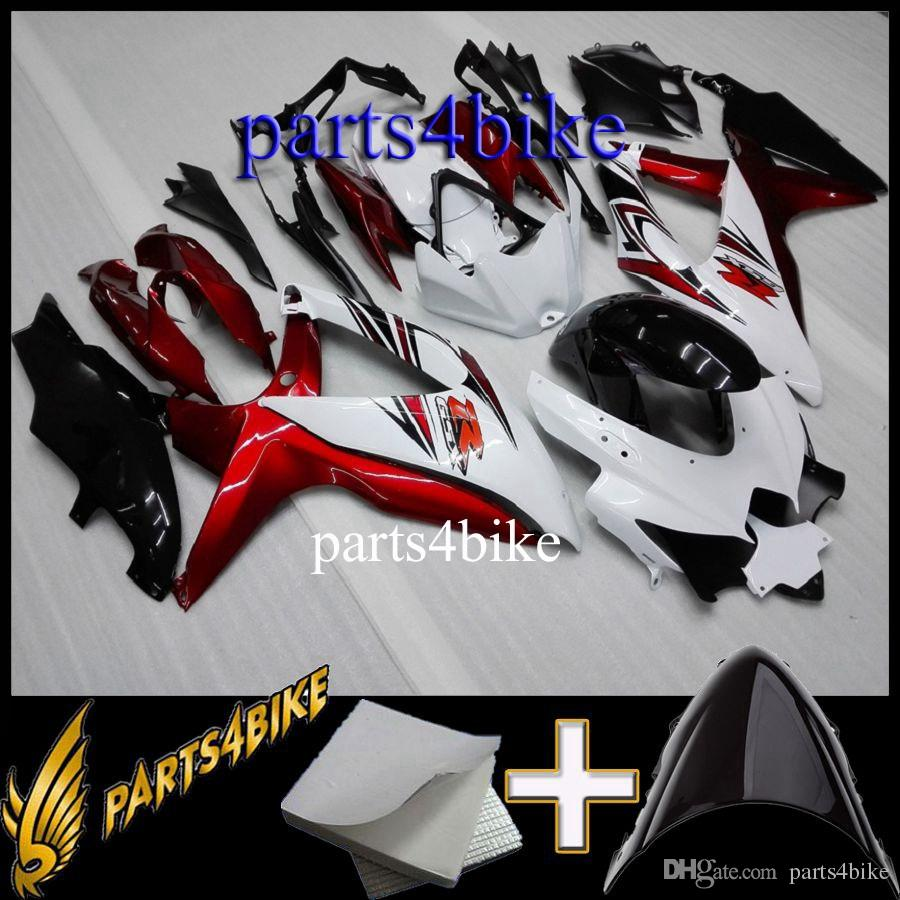 Gifts ABS Fairing for Suzuki GSXR600750 08 10 GSX-R600 750 2008 2010 08-10 red white black Motorcycle Aftermarket Plastic Kit