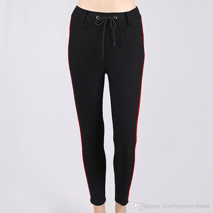 2017092824 Pantalones de cintura alta a rayas flacas mujeres otoño nuevos bolsillos con cordón Pantalones de lápiz de algodón Negro Gris Pantalones de las mujeres ocasionales