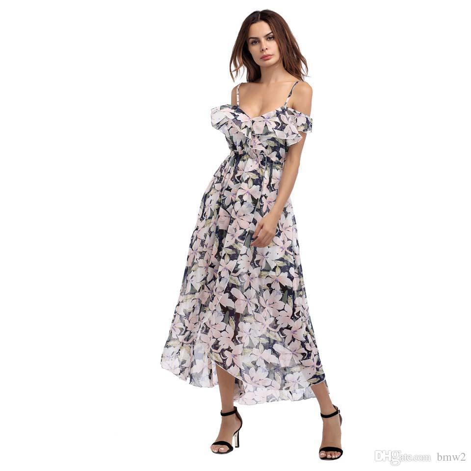 00a70ea1eac84 Off Shoulder Floral Print Long Maxi Dress Summer 2017 Sexy Ruffles Bohemian  Women Casual Beach Party Dresses Asymmetrical