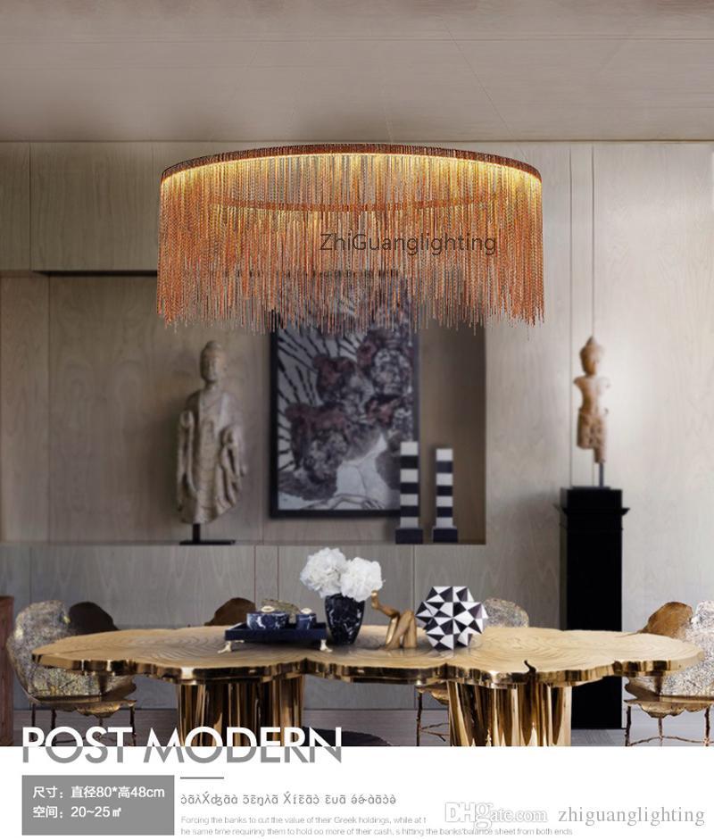 Posmoderna minimalista personalidad borlas atmósfera ilumina salas de estar nórdicos restaurantes dormitorios Villas lámparas de techo lámparas creativas de oro