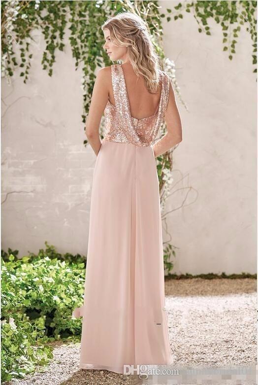 2019 New Rose Gold невесты платья линии спагетти Backless Блестки шифоновое Дешевые Long Beach Wedding Guest платье горничной честь Gowns