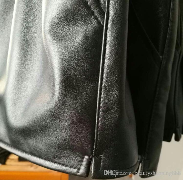 Les femmes nouvelles mode de luxe des cuir véritable de basane Shorts boot cut taille large jambe élastique plus la taille S-3XL