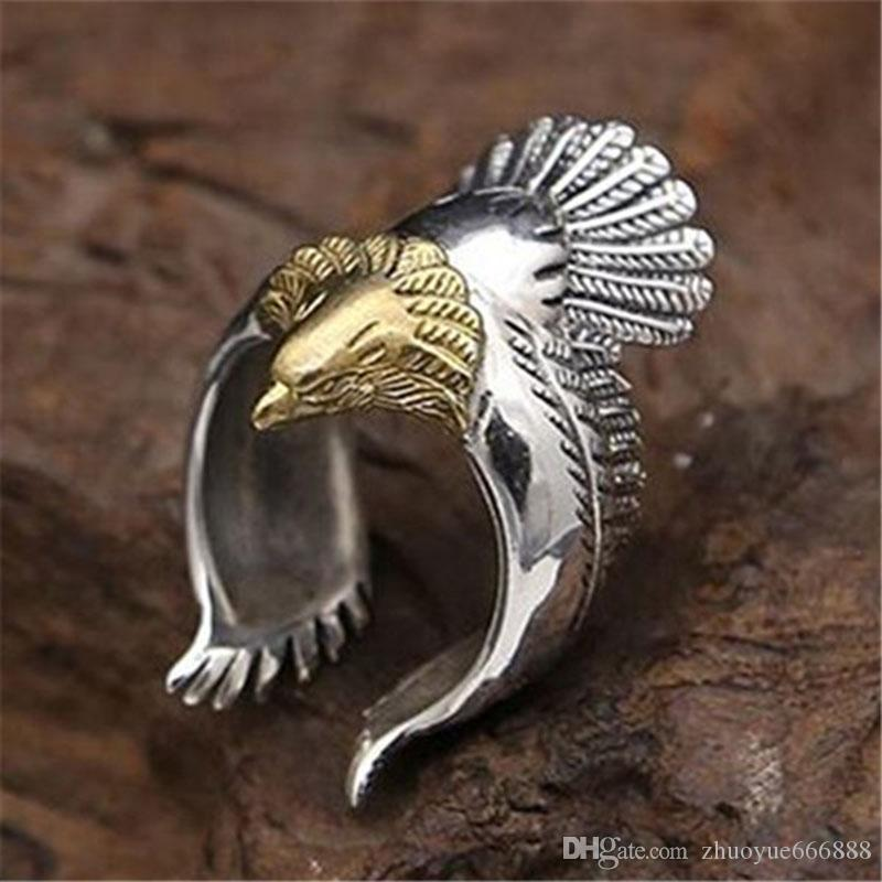2018 Fashion Vintage Eagle Rings Wings Open Mouth Eagle Women\'S Ring ...