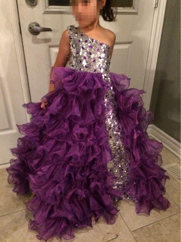 2020 Moda Gümüş ve Mor Kızlar Pageant elbise Bir Omuz Diamonds Sequins Ruffles Organze Kızlar Parti Törenlerinde Özel Boyut