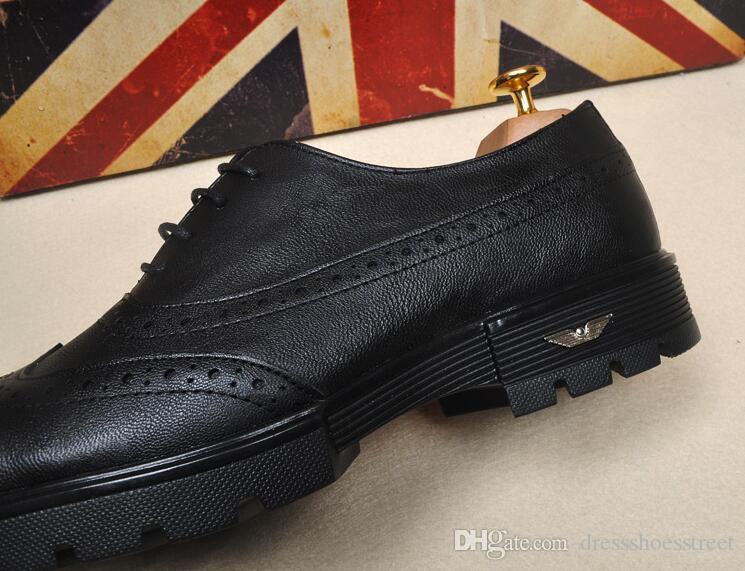 cuir pu formel hommes chaussures à lacets Bullock sculpté hommes richelieus chaussures affaires robe de mariage chaussures hommes appartements plus la taille