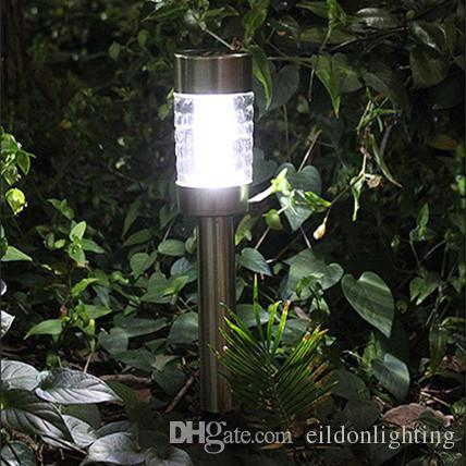 LED Solar Garden Column Lights 43cm Stainless Steel Power Outdoor  Waterproof Home Lighting Decorations Landscape Lamps