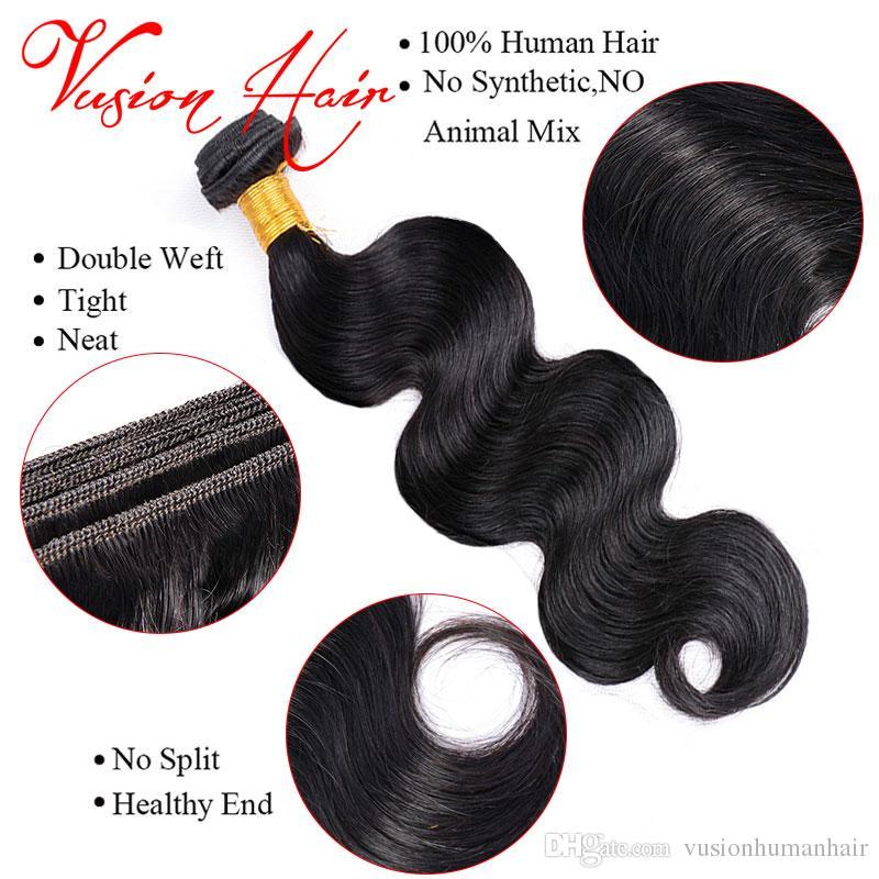 Onda do corpo 3 pacotes com Lace Encerramento Raw indiano virgem do cabelo não processado Duplo Drawn Tece Mink brasileira Cabelo Natural Preto