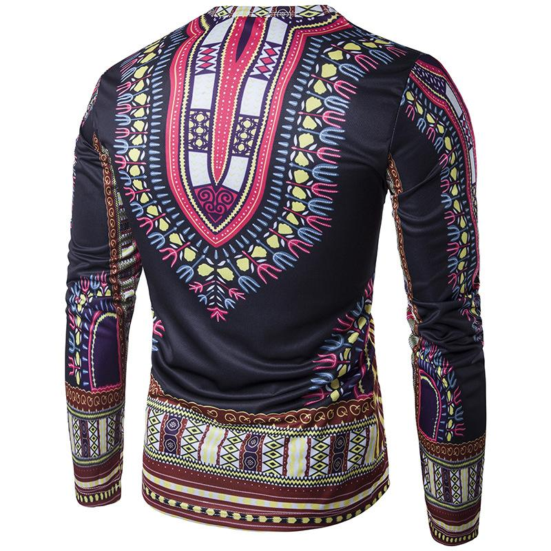 Bohemia National Style T Shirts For Men Top Quality Brand Tshirts Summer Pop Long Sleeve Cotton T-Shirts Wholesale 2017 New Arrival