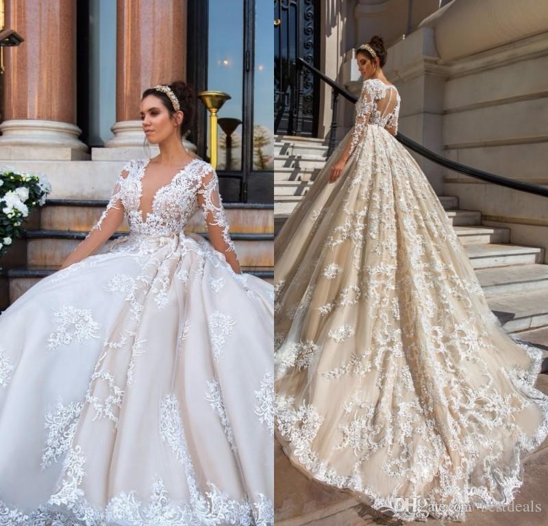Discount Gorgeous Lace Ball Gown Wedding Dresses 2017 Sexy V Neck Appliques  Sheer Long Sleeve Bride Gowns Vintage Vestido De Noiva Line Wedding Dresses  ... b4a99d2f0