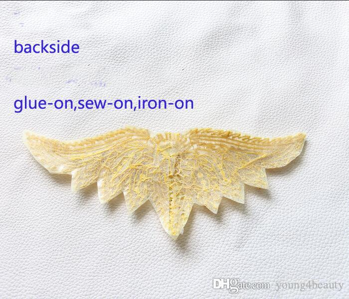 fashion wing crystal gold applique hotfix crystal rhinestone motif for dress coat jeans bags shoes garment decoration.