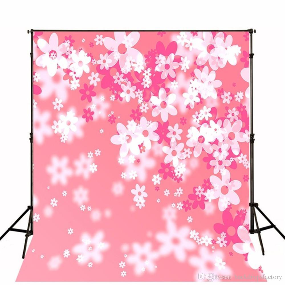 2018 White Flowers Bokeh Pink Background Newborn Baby Studio Booth